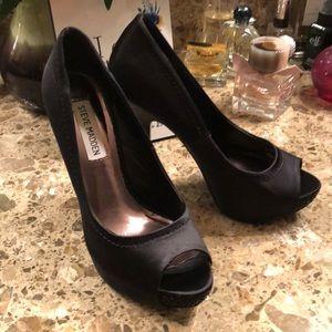 Black satin studded Steve Madden heels